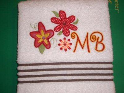 Jeans Funky Flowers Applique Towel