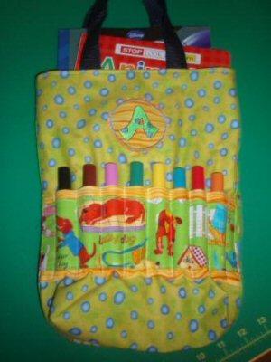 Jeans Button Alphabet Crayon Bag