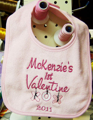 Glendas Valentines Sentiments Bib