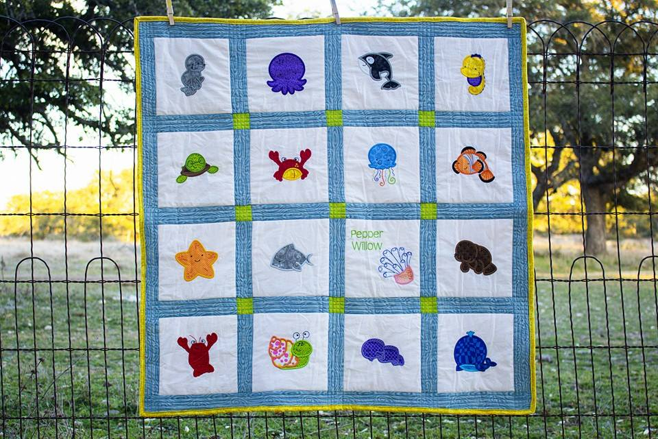 Sarah Sea Creatures Applique Quilt