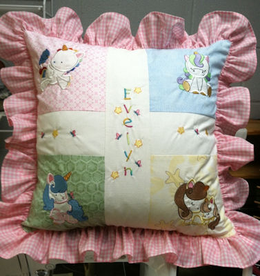Judy Magical Unicorns Applique Pillow
