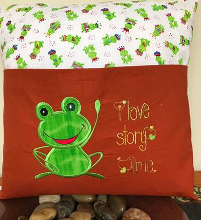 Denise Happy Frog Applique Reading Pillow