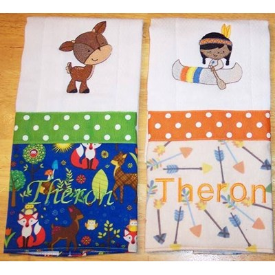 Donna Thanksgiving and Forest Animals Burp Cloths Jul 17