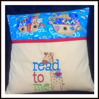 Lyn Reading Pillow using an embroidery design from Childrens Libary Sentiments