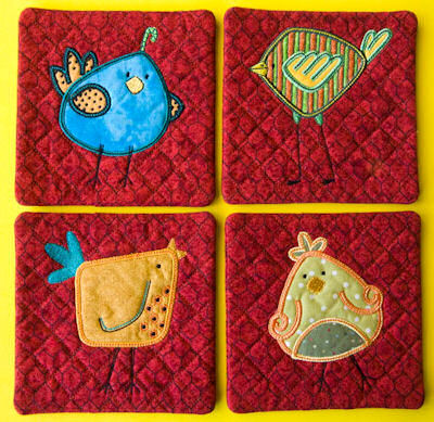 Janet Here Birdy Applique Coasters