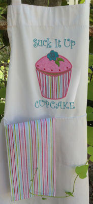 Jennifer Cupcakes Applique Too Apron