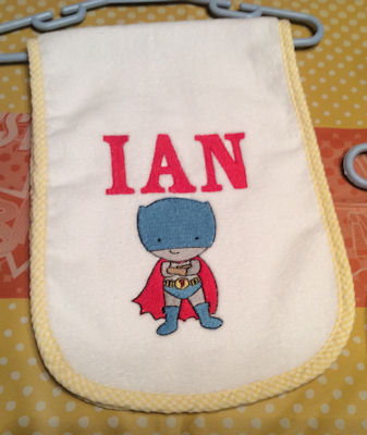 Jennifer Superheros Bib and Burp cloth