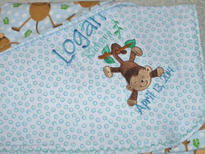 Lyns Monkeying Around Four Baby Blanket