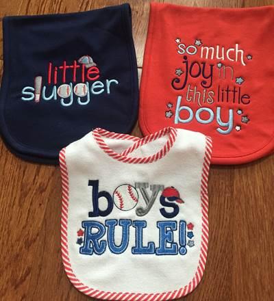 Jill Boys Bib and Burp Cloths
