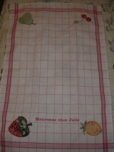 Florences Applique Fruit Tea Towel