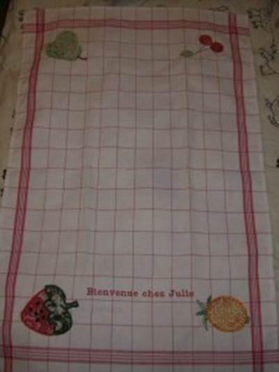 Florences Applique Fruit Tea Towel