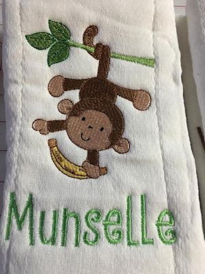 Jennifer Monkeying Around Burp Cloth May 16