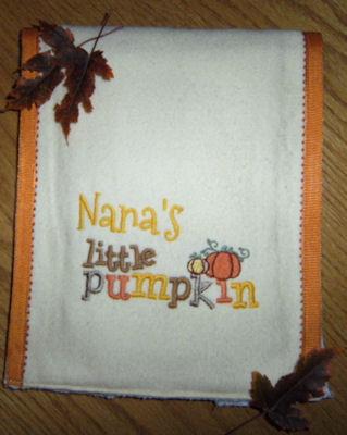 Bonnies Little Pumpkin Burp Cloth
