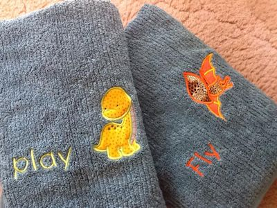 Rosemary Dinomite Applique Towels