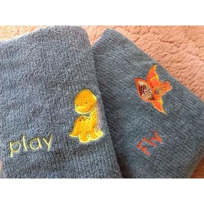 Rosemary Dinomite Applique Towels