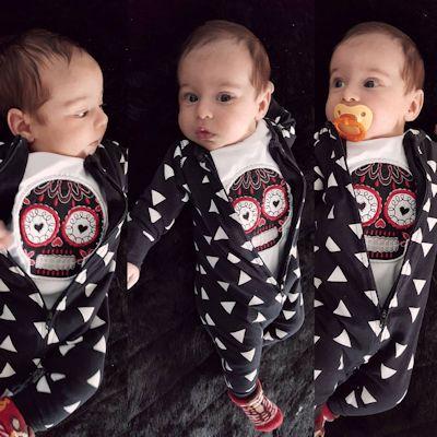 Sarah Sugar Skulls Applique Baby Outfits Sep 16