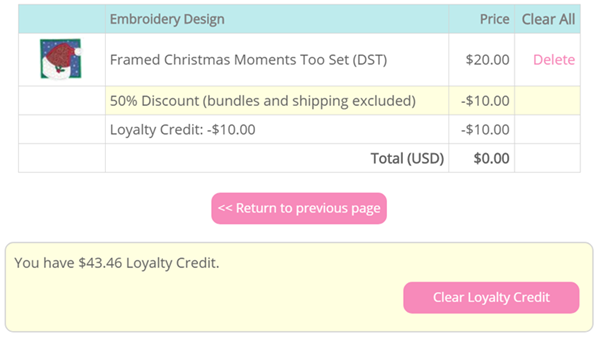 Example cart using Loyalty Credits